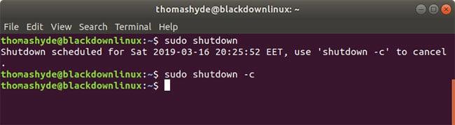 a simple shutdown command