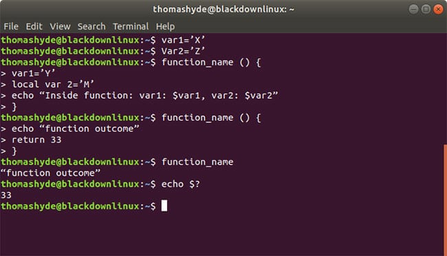 bash function variables with return values